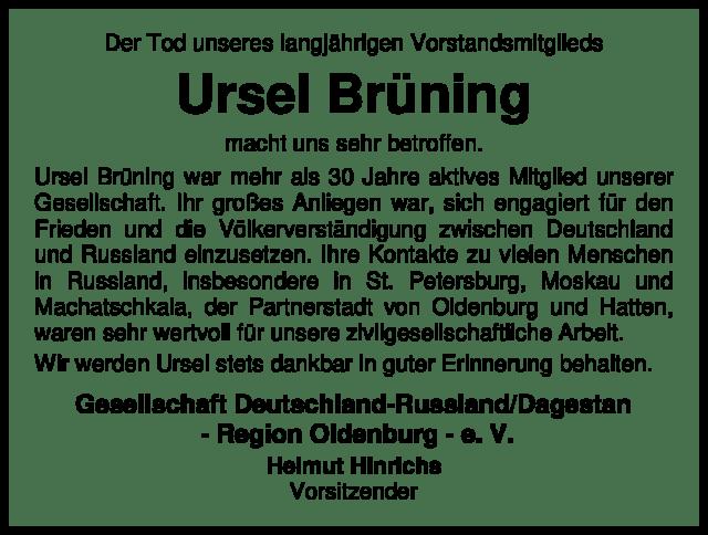 GDRD - Traueranzeige Ursel Brüning 4660076_1